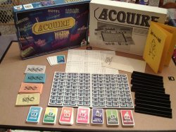 1980's French ACQUIRE Game, Brand New and Shrink-Wrapped, with an enlarged Information Card and Lloyd's Rules of ACQUIRE