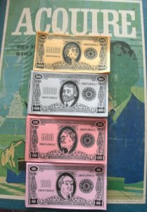 Reproduced Set of 3M 1968 Style ACQUIRE Play Money for 1962 through 1995 Editions of ACQUIRE