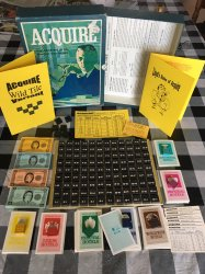 1962/63 Wood Tile ACQUIRE Game, Unplayed Condition, with a Wild Tile Kit, enlarged Information Card, and Lloyd's Rules