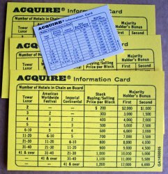 Set of Three (3) Enlarged Information Cards for 1962 through 1995 Editions of ACQUIRE