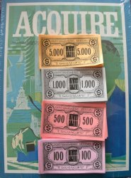 Reproduced Set of Avalon Hill 1976 Style ACQUIRE Play Money for 1962 through 1995 Editions of ACQUIRE