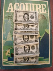Reproduced Set of (50) $1,000 3M 1968 Style ACQUIRE Play Money for 1962 through 1995 Editions of ACQUIRE