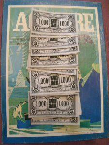 Reproduced Set of (50) $1,000 Avalon Hill 1976 Style ACQUIRE Play Money for 1962 through 1995 Editions of ACQUIRE