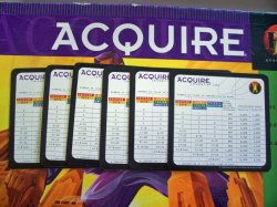 Set of (6) Six Information Cards for the 1999 Hasbro Edition of ACQUIRE