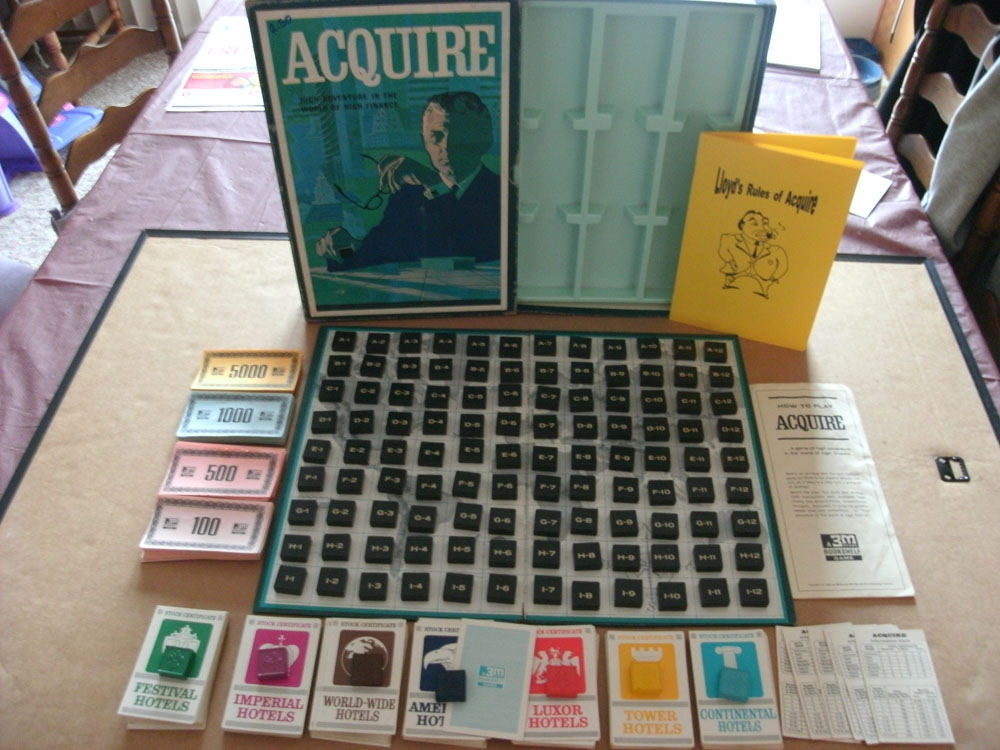 1963 ACQUIRE Wood Tile World Map Game