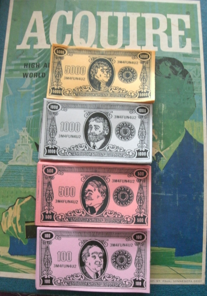 Reproduction Set of Money for ACQUIRE (1968 Style)