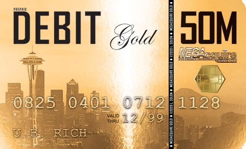 MEGAcquire GOLD Gold Prepaid Debit Card
